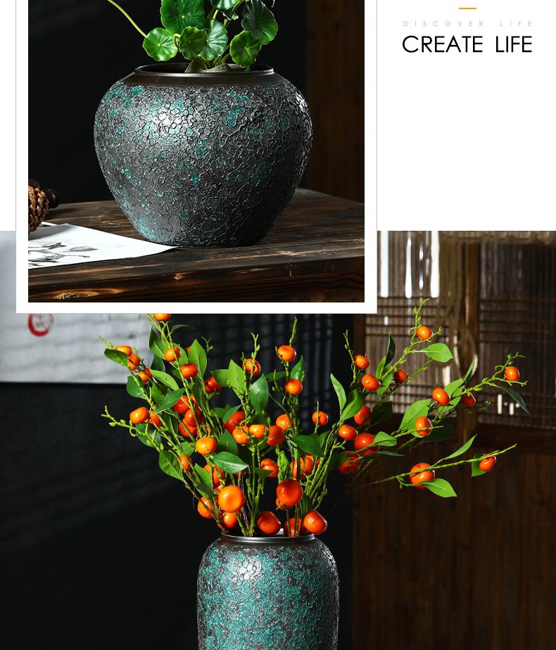 Jingdezhen coarse pottery vase landing black pottery living room large flower arranging flower implement simple window decoration
