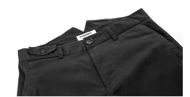 viishow休闲裤男修身 欧美时尚黑色休闲裤 潮男直筒裤子 KC24353