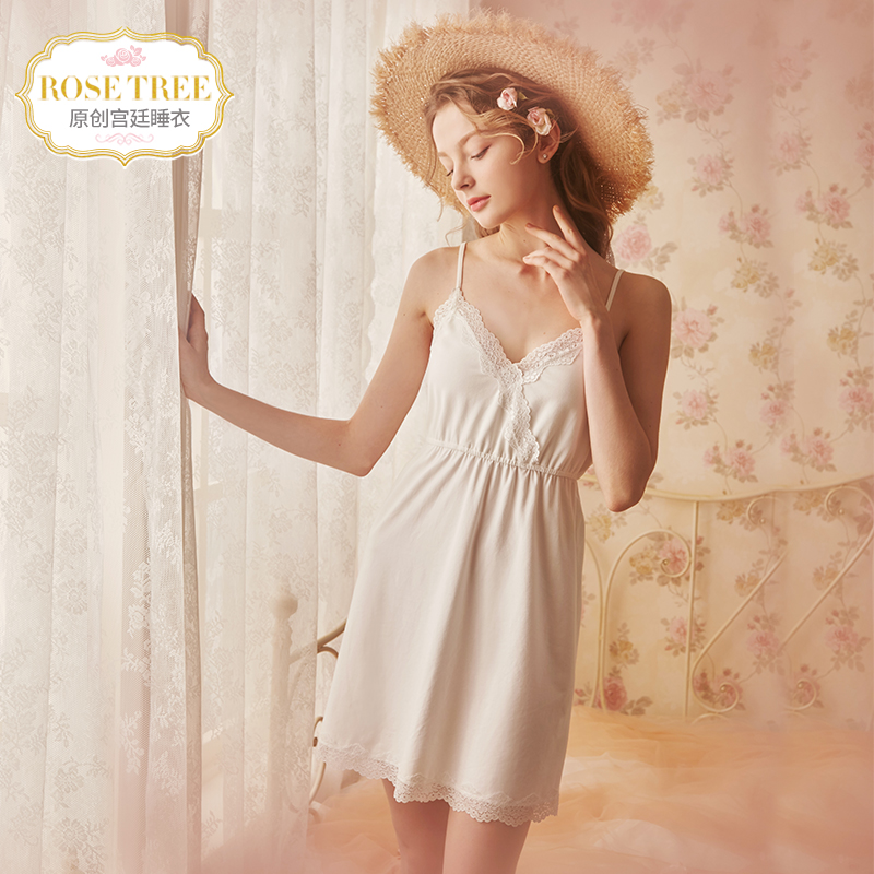 Rosetree court sexy suspenders nightdress female summer Princess lace  pajamas v collar cute Japanese home service b813c5140