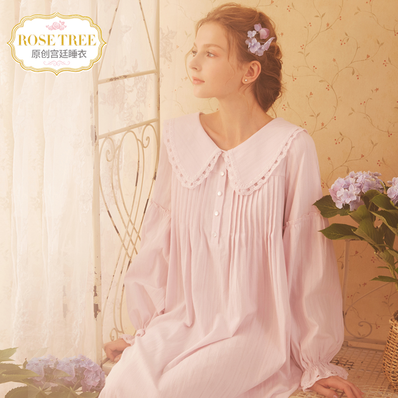 RoseTree long-sleeved nightdress female autumn long lace retro cute  princess sweet pajamas home service 710b66818