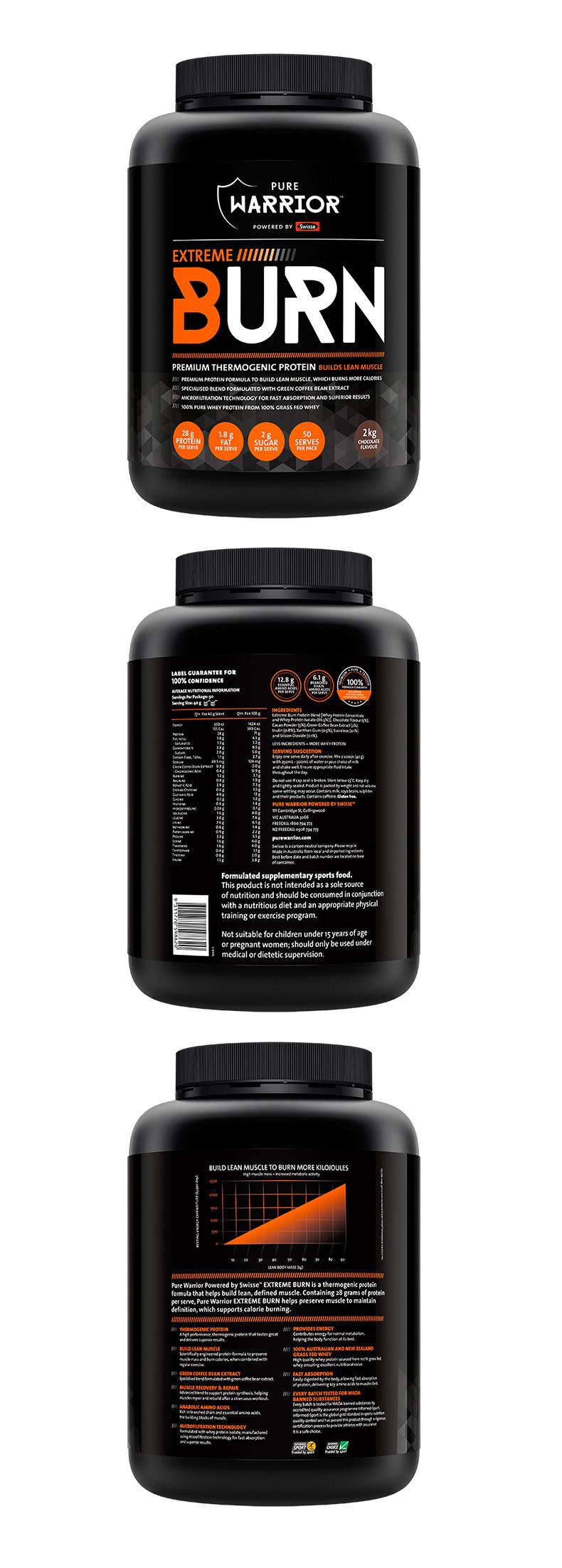 澳洲进口swisse乳清蛋白粉PureWarrior巧克力味2kg健身粉增肌塑型 运动营养 第6张
