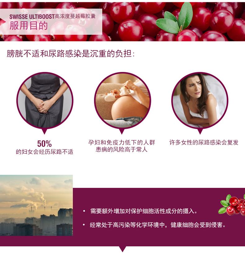 澳洲进口高浓缩swisse蔓越莓胶囊呵护泌尿系统保养卵巢30粒装 运动营养 第6张
