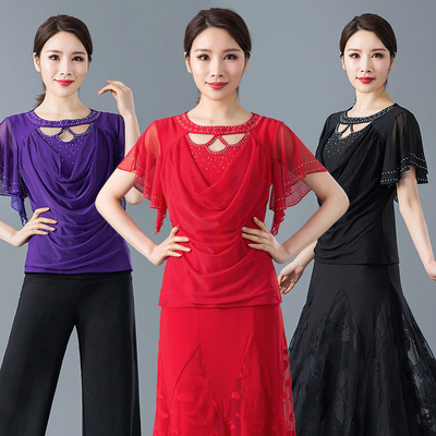 Ballroom Dance Dresses Latin shirt lady modern dress short sleeve T-shirt ballroom dress