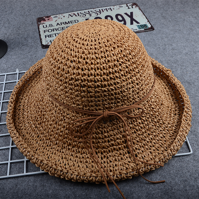 Summer Korean version of the vintage Sen female Department of all hand-woven butterfly knot big eaves shade hat Beach hat Children