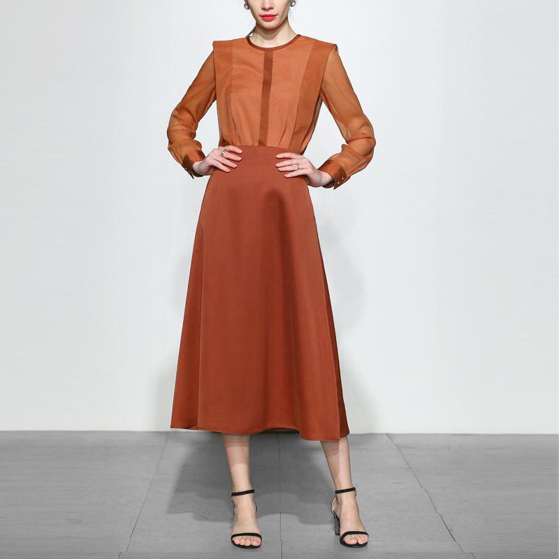 小香风气质名媛两件套时尚网纱上衣长裙裙子套装女装春装2020新款