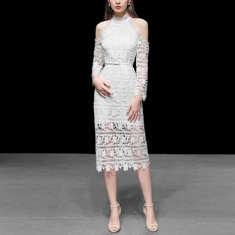 2019秋装新款 欧美时尚立领露肩蕾丝系带收腰修身一步中长连衣裙