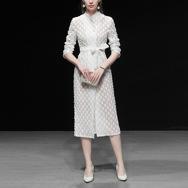春装2019新款外套风衣复古收腰中长款女装v春装修身薄款过膝白色潮
