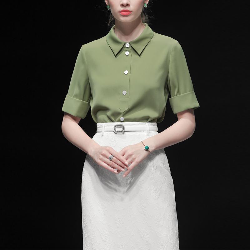 件套2019新款夏装长裙气质两上衣短袖女装套装包臀裙裙子衬衫时尚