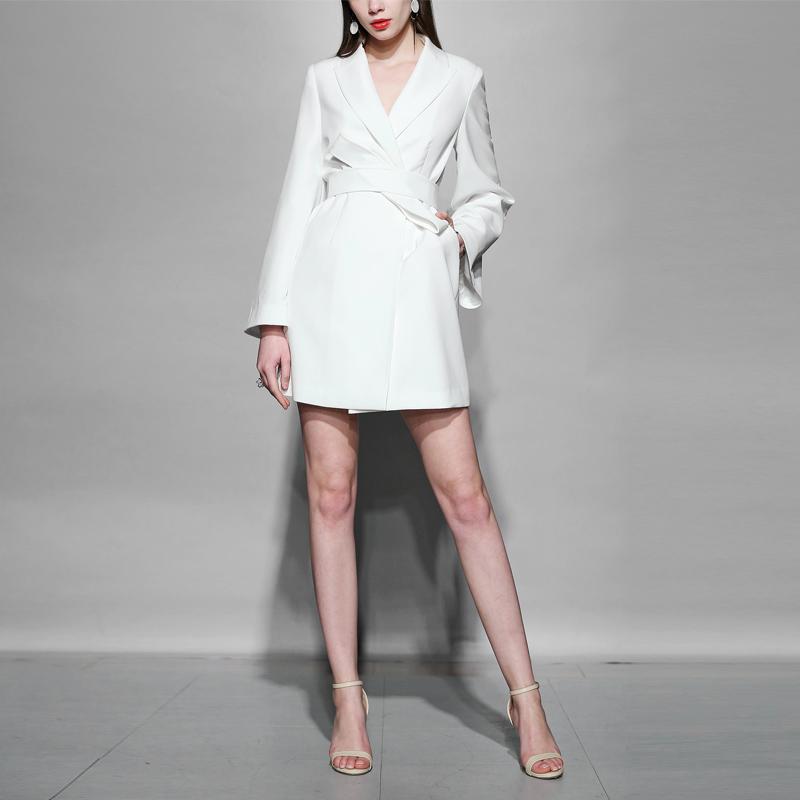 秋装长袖2019新款chic中长款收腰小西装修身薄款外套风衣女装
