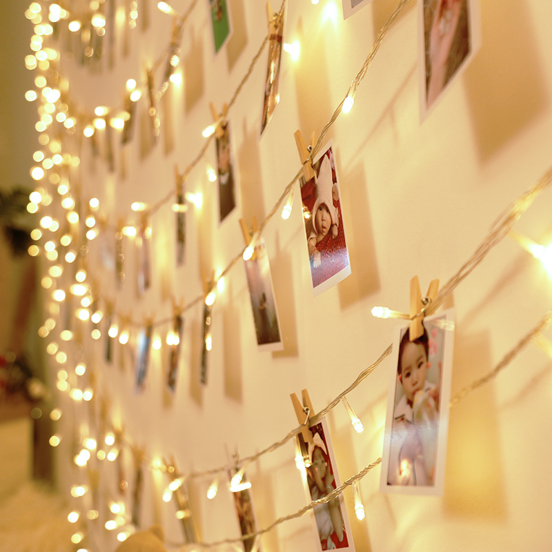 Photo wall package]ins Korean style LED string photo wall hemp clip ...