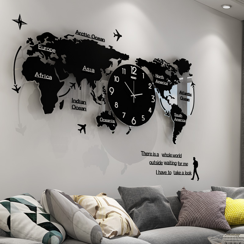 Creative World Map Decorative Clocks Wall Clock Living Room Modern Minimalist Atmosphere Personality Hanging Table
