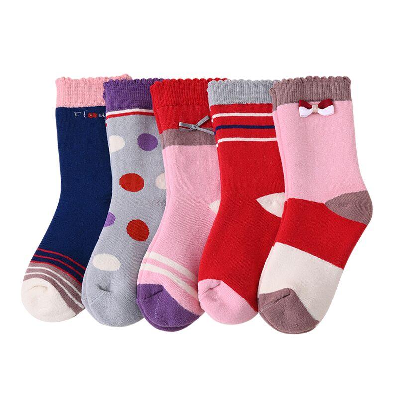 儿童袜子纯棉冬季加绒加厚保暖毛圈袜女童中筒袜全棉宝宝长筒袜子
