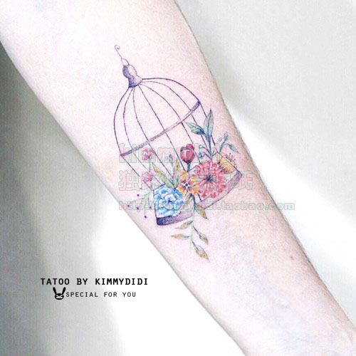 bbff31aa94a93 Tower rabbit exclusive summer tattoo sticker Japanese Mori bird cage Daisy  sun small flower tattoos men and women tattoo