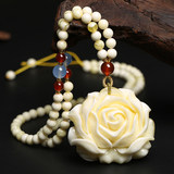 Natural white honey wax rose pendant long carved amber second generation pendant necklace chain chain men's ornament