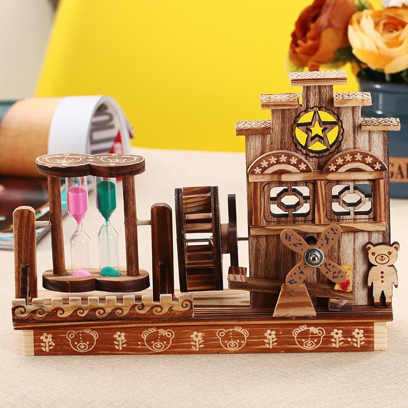 创意木质发条音乐盒 带旋转流沙复古水车八音盒学生生日节日礼物
