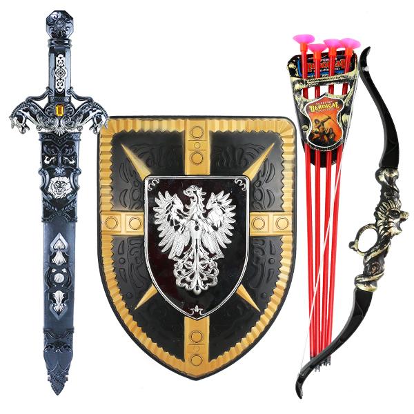 盾牌玩具套装玩具模型刀剑弓箭仿古玩具男孩兵器宝剑兵器儿童塑料