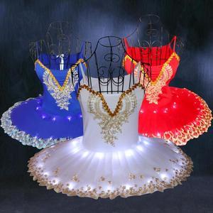 Little swan lake ballet dance dresses tutu skirt for girls Luminous Ballerina skirt children's LED fluorescent performance ballet dance costumes
