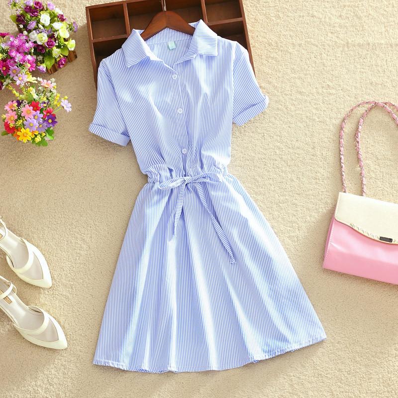娇小女装xs胖矮个子145-155搭配显高夏季蓝条纹连衣裙中长裙子夏10-27新券