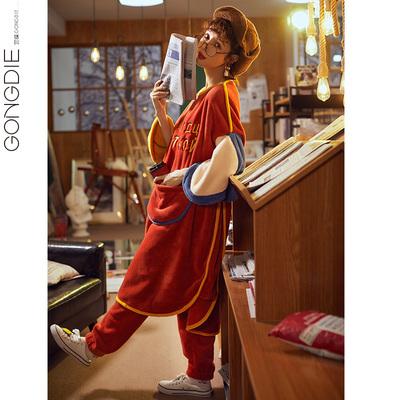 睡衣女秋冬季珊瑚绒两件套装加厚保暖两穿睡裙睡袍法兰绒家居服冬