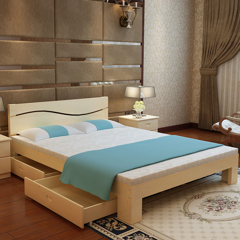 Simple Solid Wood Bed Economy 1 8 M Double Bed Master Bedroom Modern 1 2m  Rental