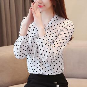 В горошек шифон рубашка 2018 весна новая девушка наряд корейский вентилятор с длинными рукавами и накладки одежда бант небольшим воротником рубашка куртка волна, цена 398 руб
