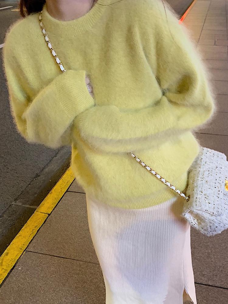 纯色兔毛套头针织毛衣,毛衣中的白富美