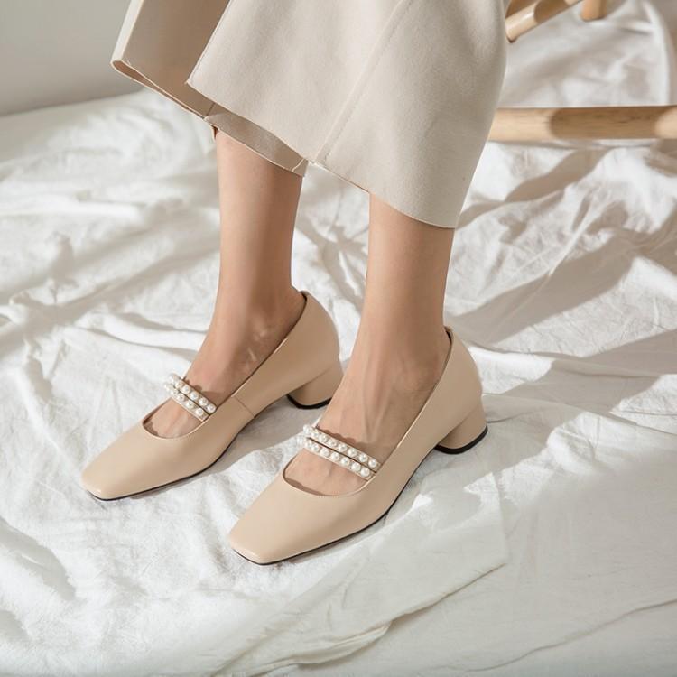 甜美珍珠玛丽珍鞋,优雅时尚又漂亮