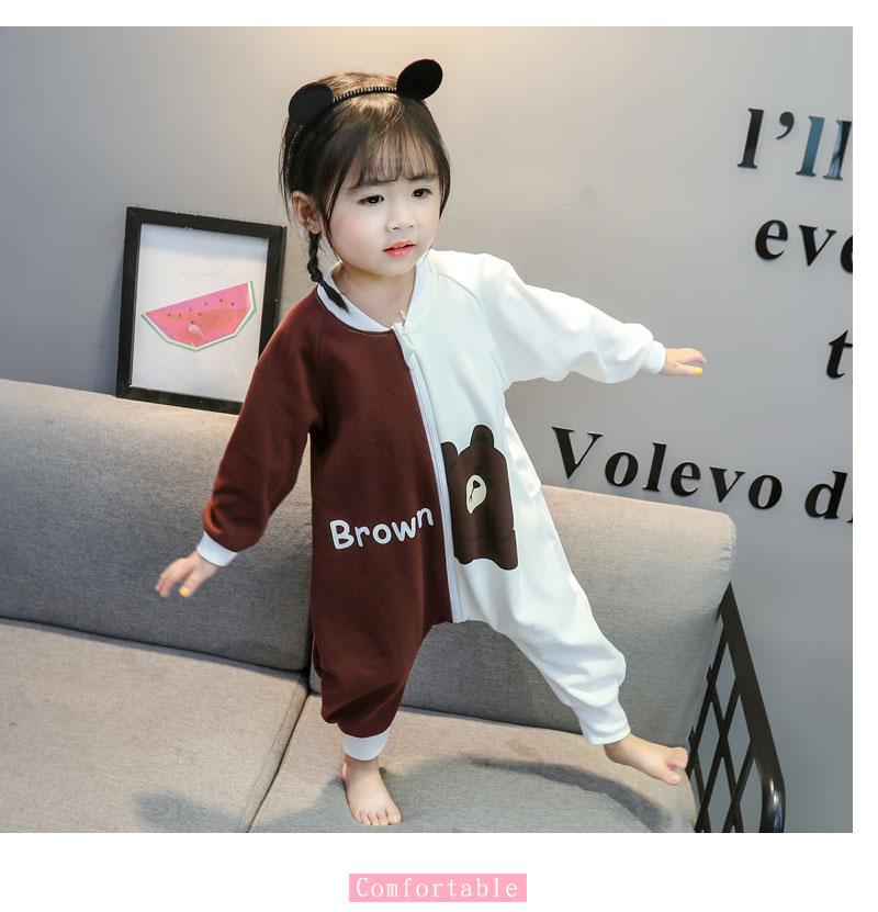 新款春秋季宝宝纯棉连体衣家居服夏季薄款婴儿睡衣儿童空调服睡衣