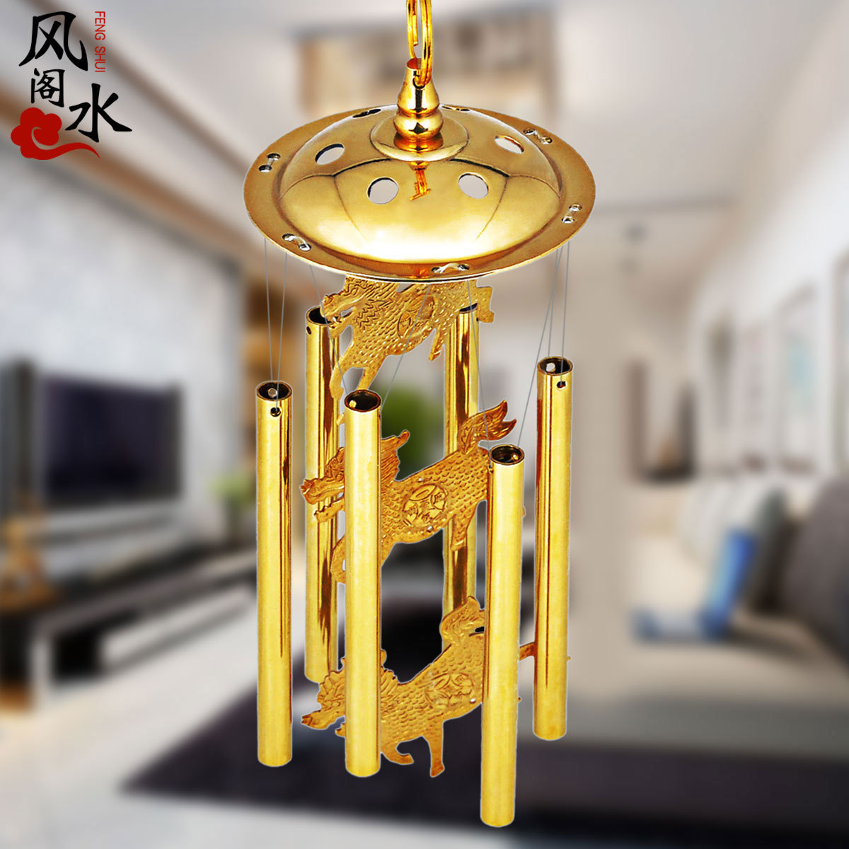 Feng Shui Pavilion Pure Copper Wind Chimes Door Hanging Decoration Six Tube  Unicorn Metal Brass Pan Home Decorations Gift