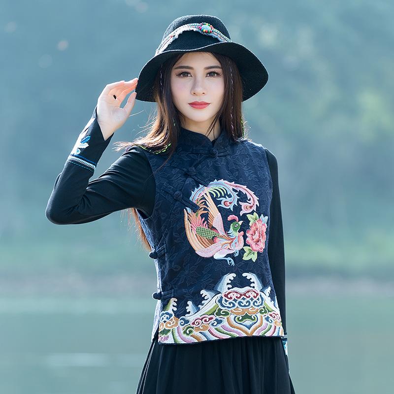 Mùa xuân và mùa thu mới của phụ nữ phong cách dân tộc thêu không tay đứng cổ áo jacquard gai bông áo ghi lê ngắn áo khoác vest - Áo vest