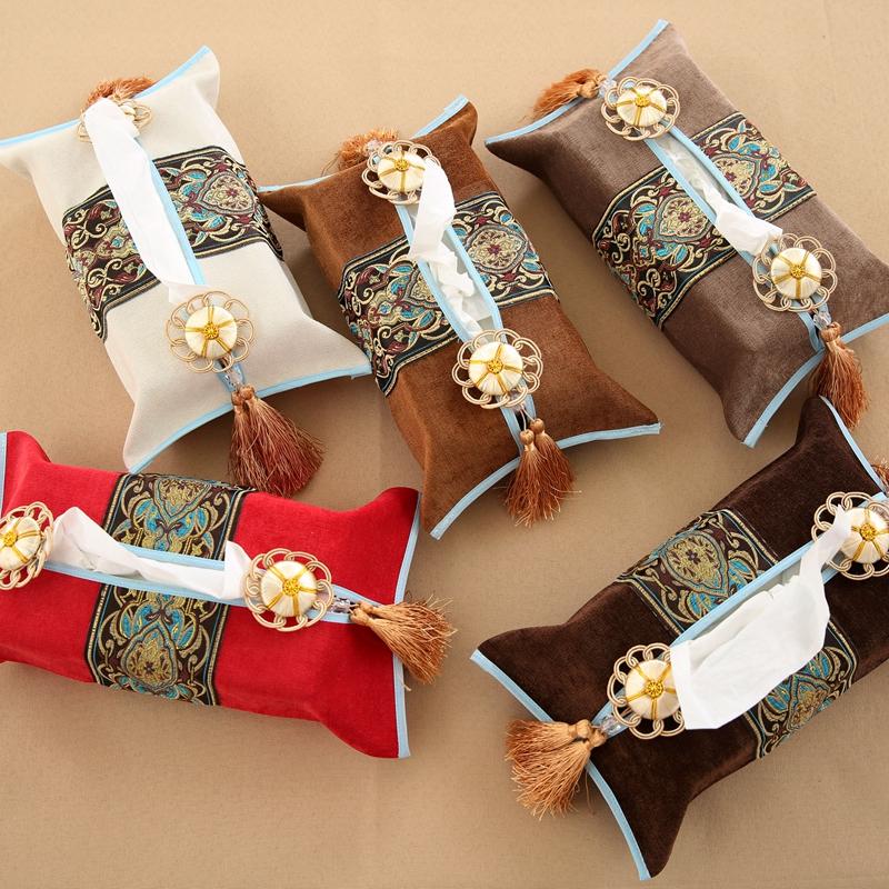 高档布艺纸巾盒 中式餐巾纸盒抽纸盒