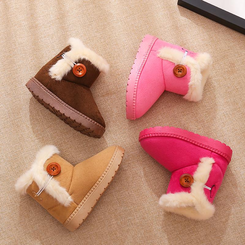Зимний новая коллекция детские угги на девочку ботинки на мальчика сапоги детские с хлопком плюш замшевый башмак