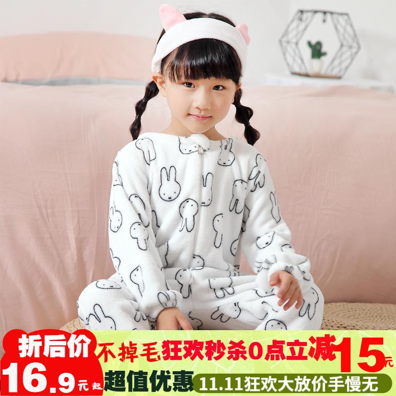 儿童连体睡衣长袖女男孩卡通动漫珊瑚法兰绒可爱超萌秋冬季加厚款
