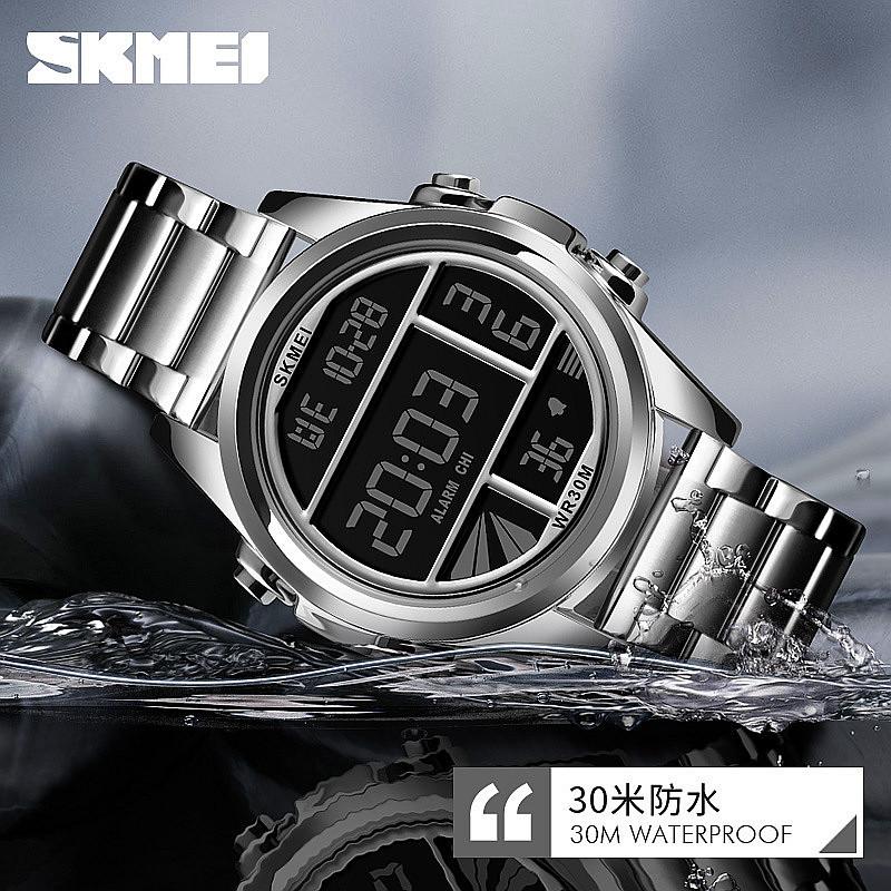 2020新款钢带男士手表多功能游泳防水LED电子表黑科技学生男表潮
