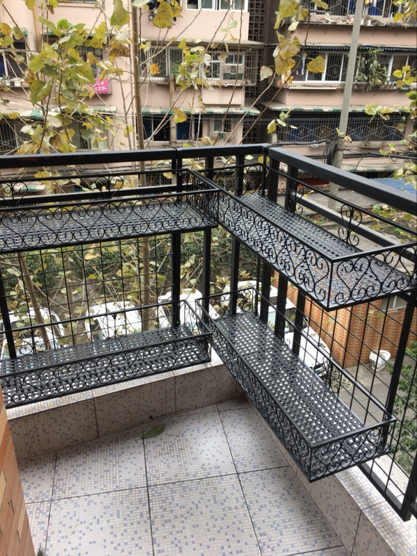 Double Balcony Railing Flower Shelf Rack Pot Indoor Hanging Decoration Wrought Iron Multi Layer Meat