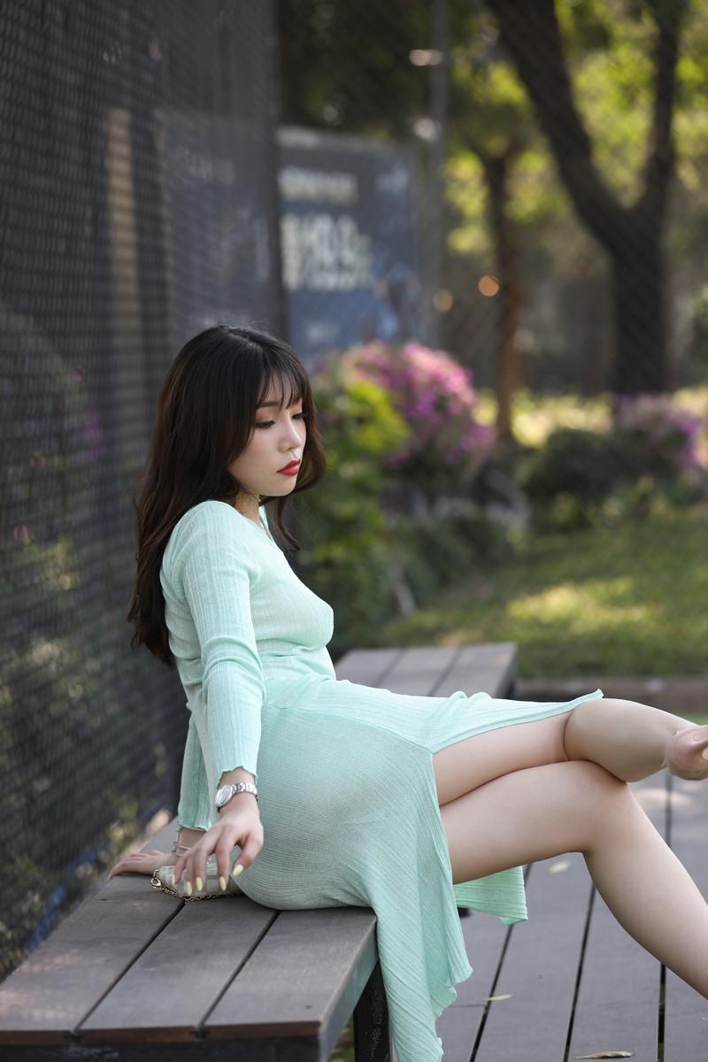 芝芝性感浅绿色包臀裙【套图+视频】 5656  帖子ID:659