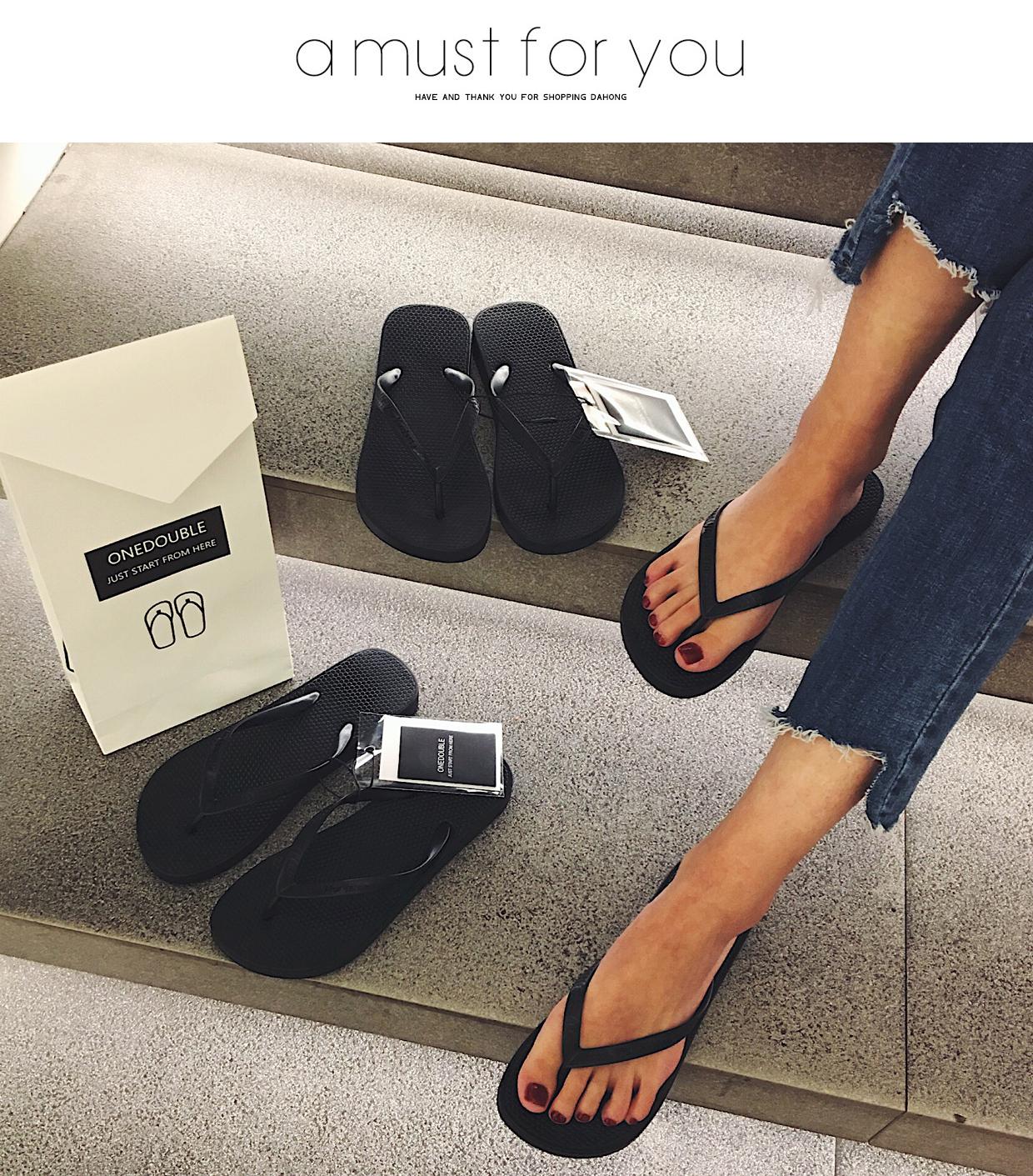 新款黑色人字拖女夹角凉拖鞋女夏外穿防滑平底跟沙滩鞋情侣拖详细照片