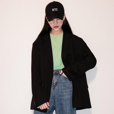 唐姐MissTang黑色西装外套女春秋宽松百搭西服小西装休闲外套