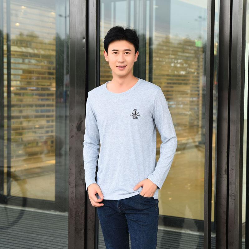2017 dài tay t-shirt nam mùa thu Hàn Quốc phiên bản của kích thước lớn lỏng vòng cổ phần mỏng áo sơ mi giản dị cộng với phân bón để tăng đáy áo áo phông unisex