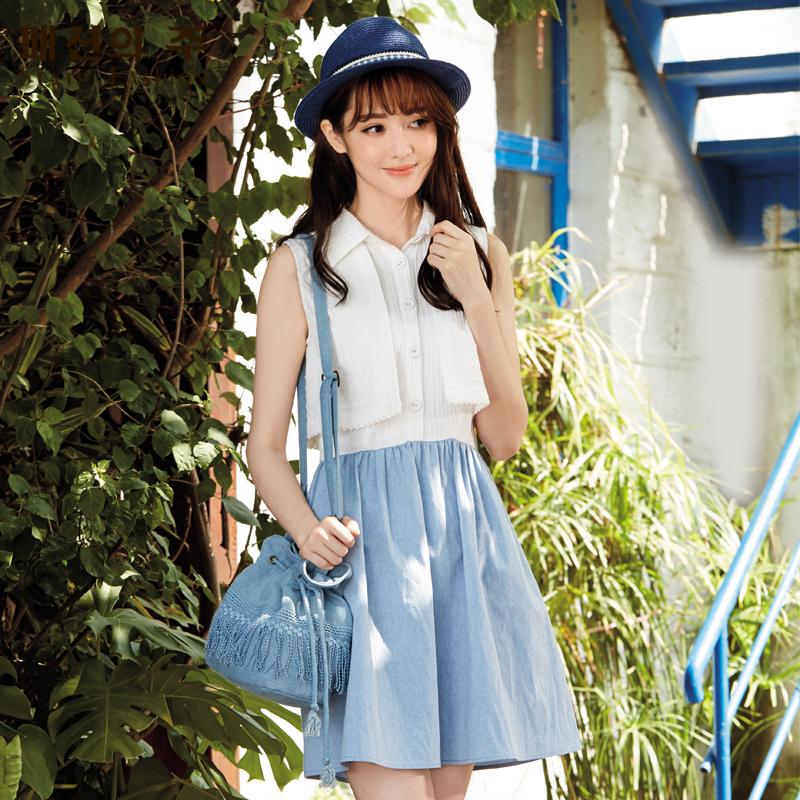 尚州夏装新款翻领无袖连衣裙清新褶皱收腰背心裙子女FXL126