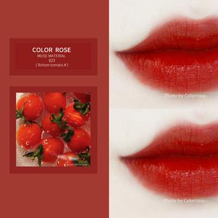 colorrose/新品慕斯唇釉小眾品牌女學生款亞光口紅絲絨啞爛番茄色