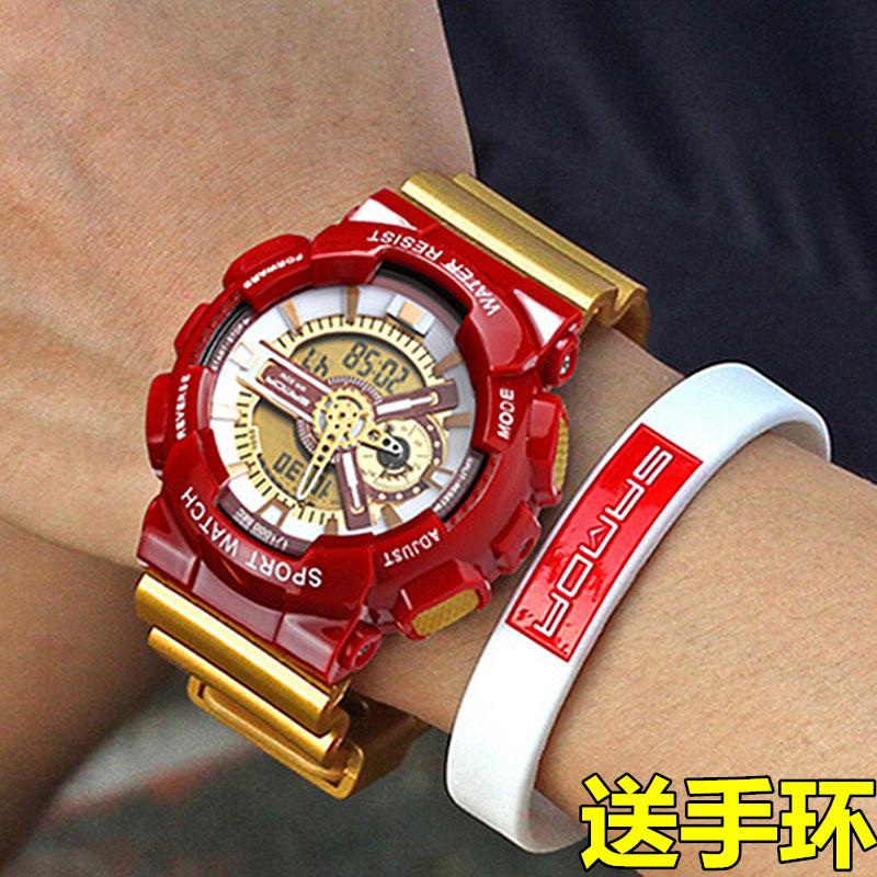 新款多功能双显手表电子表男士户外运动游泳学生男手表LED倒计时