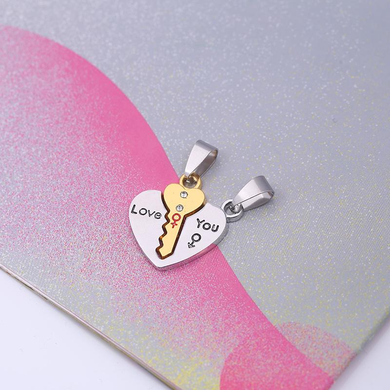 韩版爱心不锈钢钥匙吊坠 时尚钛钢情侣项链一对价 免费刻字