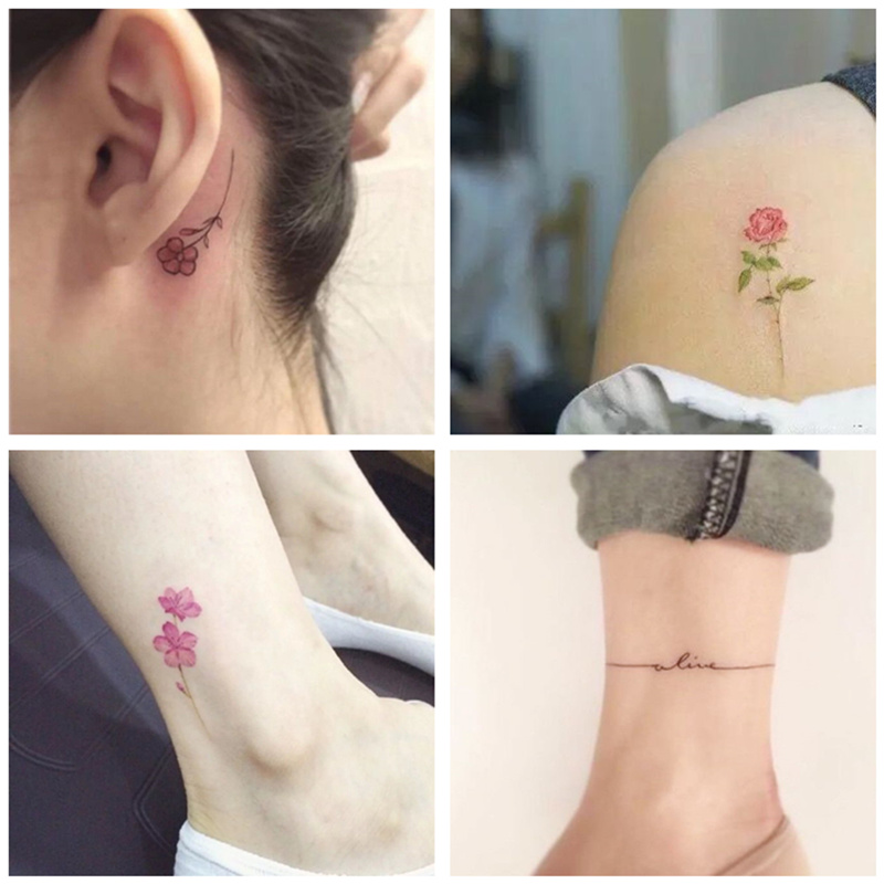 80570c8f1aae0 ... A 30 tattoo stickers waterproof female durable Korean simulation small  fresh flowers sexy English clavicle tattoo