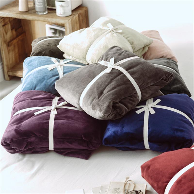 Mùa đông ấm áp chăn nhung Nhật Bản đơn mảnh 1,5 mét đôi 2 mét flannel quilt cover 220 * 240 - Quilt Covers