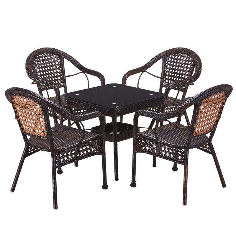Wicker Chair Three Piece Balcony Table And Chairs Outdoor Small Coffee Combination Simple Leisure Wrought Iron