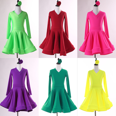 Children's Latin dance clothes training clothes women's professional big skirt Standard Dance Latin competition regulations test clothes