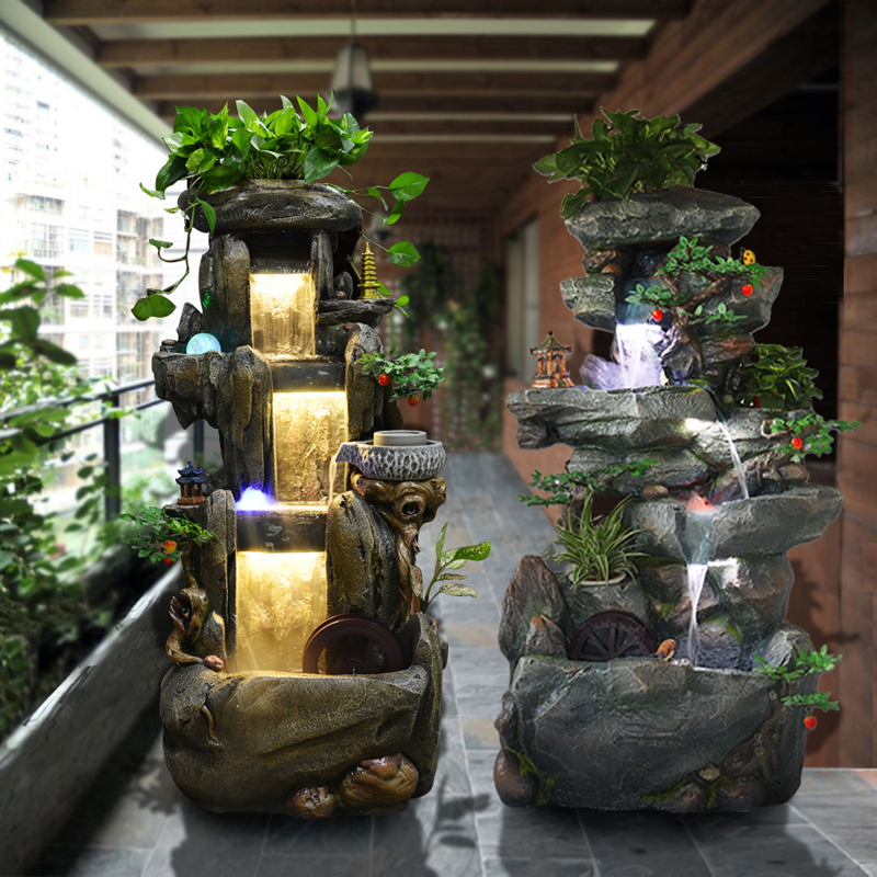 Ordinaire Lucky Rockery Fountain Living Room Feng Shui Wheel Decoration Water  Landscape Humidifier Floor Fish Pond Balcony