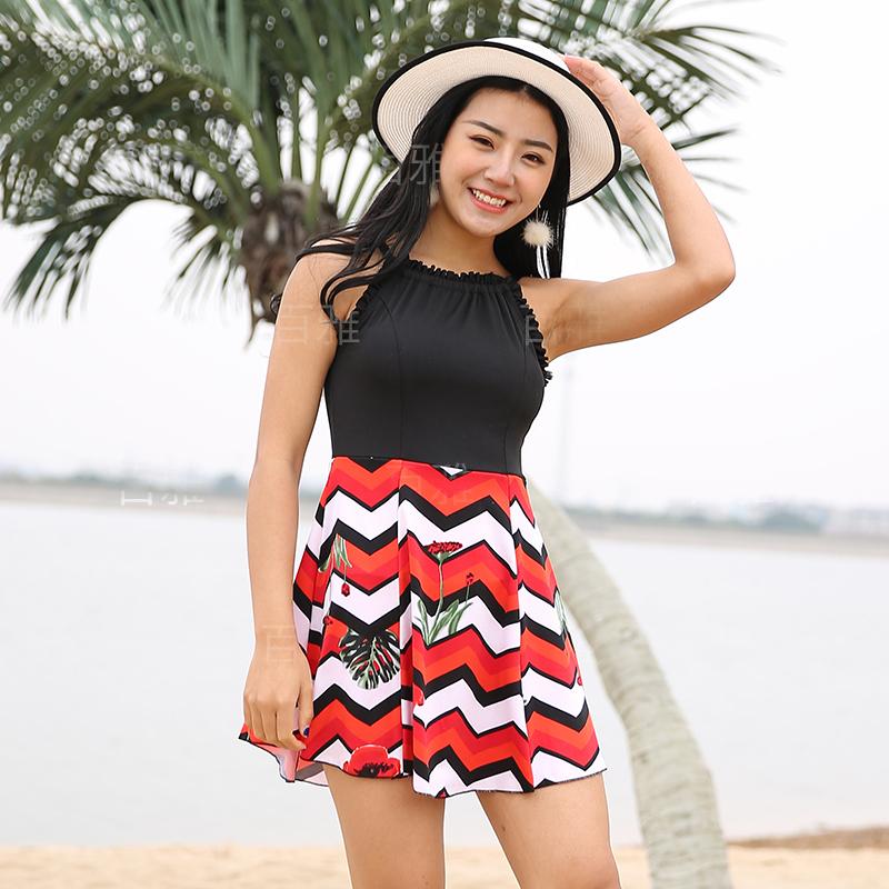 Phiên bản Hàn Quốc của bộ đồ bơi một mảnh mới của phụ nữ tự tu luyện gợi cảm thu thập mỏng manh và bảo thủ che bụng váy phẳng góc áo tắm siêu cổ tích - Bộ đồ bơi One Piece