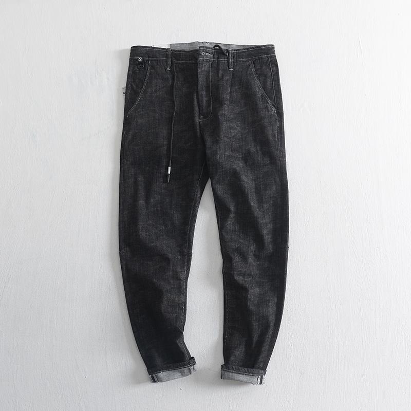 春季韩版修身小脚黑色牛仔裤男 青年简约休闲微弹抽绳纯棉长裤潮